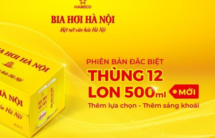 Bia hơi Hà Nội ra mắt phiên bản đặc biệt thùng 12 lon 500ml mới