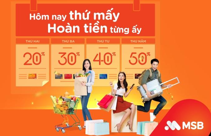 Chi tiêu thẻ quốc tế MSB với ưu đãi trọn 7 ngày trong tuần