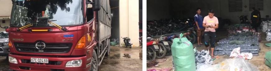 Bắt xe tải chở đầy quần áo nghi nhập lậu