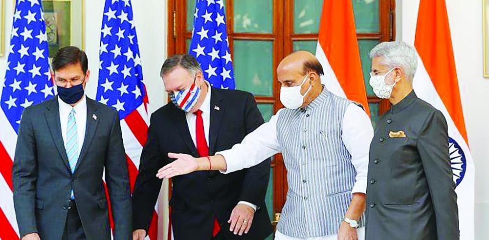 Các bộ trưởng ngoại giao, quốc phòng Mỹ và Ấn Độ gặp nhau trong Đối thoại 2+2 lần thứ 3 tại New Delhi.