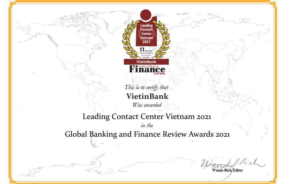 """VietinBank được vinh danh """"Trung tâm Dịch vụ khách hàng dẫn đầu Việt Nam"""" 4 năm liên tiếp"""