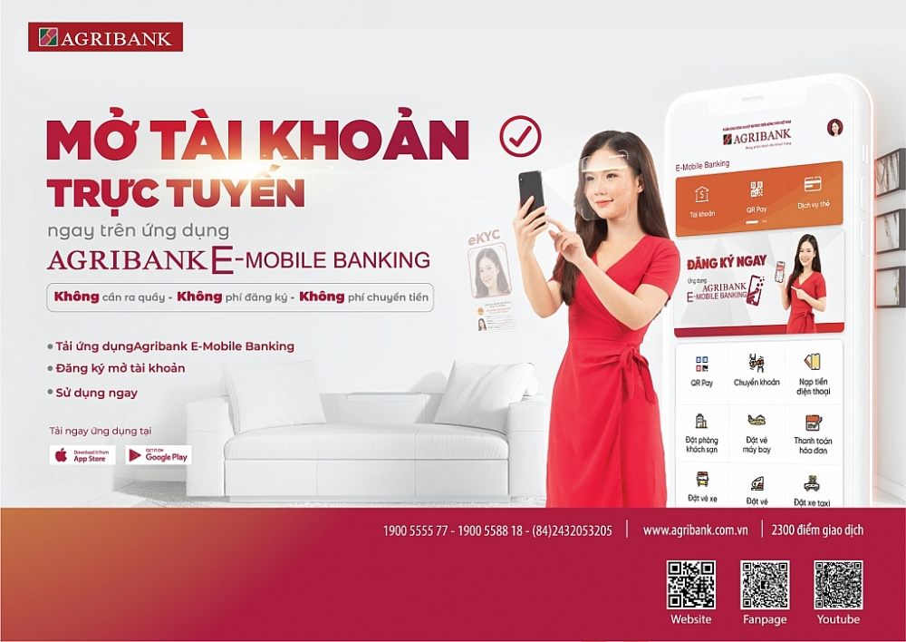 Agribank ra mắt dịch vụ mở tài khoản trực tuyến, thúc đẩy giao dịch online trong mùa dịch