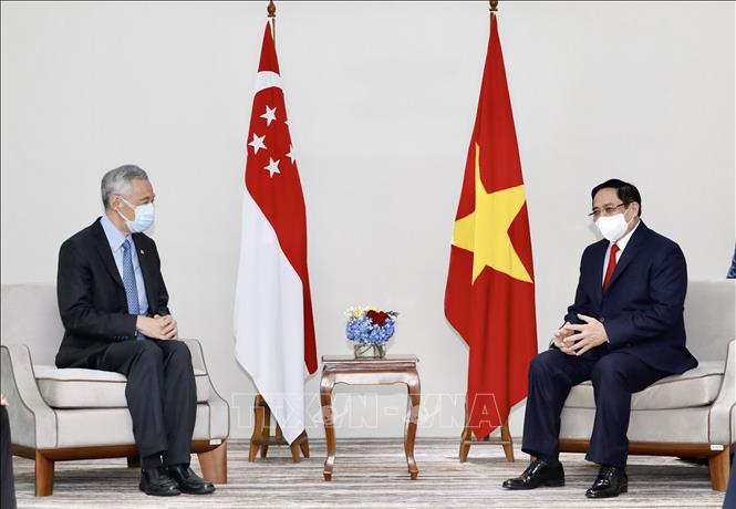 Thủ tướng Phạm Minh Chính hội kiến Thủ tướng Singapore Lý Hiển Long