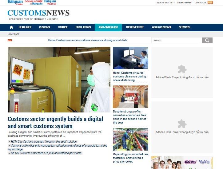 Giao diện chuyên trang Customs News