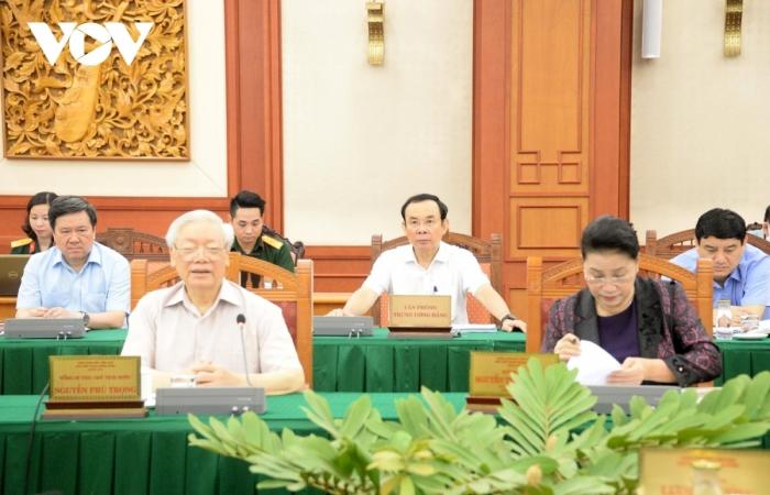 Bộ Chính trị làm việc với Quân ủy Trung ương về chuẩn bị Đại hội Đảng bộ Quân đội