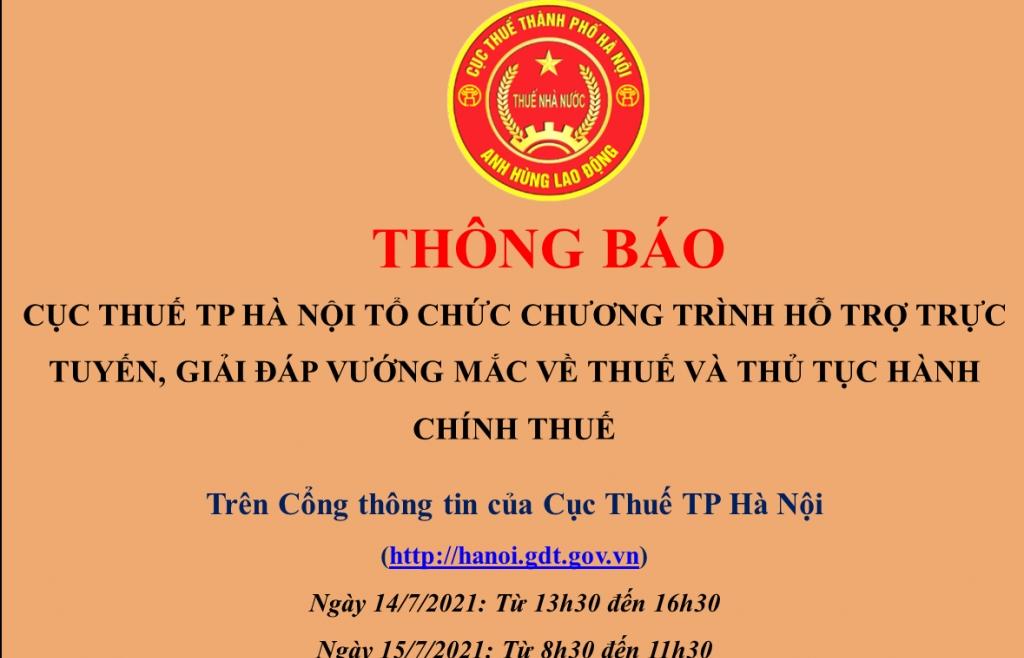 Cục Thuế Hà Nội sẽ giải đáp vướng mắc về thuế trực tuyến trong 2 ngày