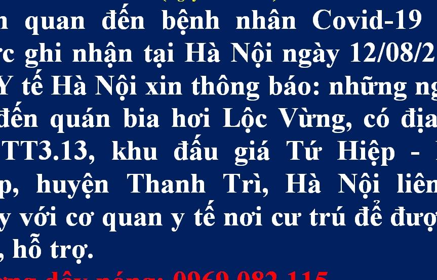 Hà Nội thông báo khẩn tìm người tới quán bia Lộc Vừng