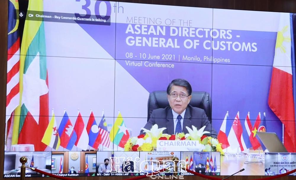 Hội nghị Tổng cục trưởng Hải quan ASEN lần thứ 30 chính thức được khai mạc theo hình thức trực tuyến dưới sự chủ trì của Tổng cục trưởng Hải quan Philippines. Ảnh: H.Nụ