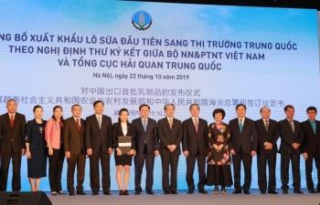 Việt Nam xuất khẩu lô sữa đầu tiên sang Trung Quốc