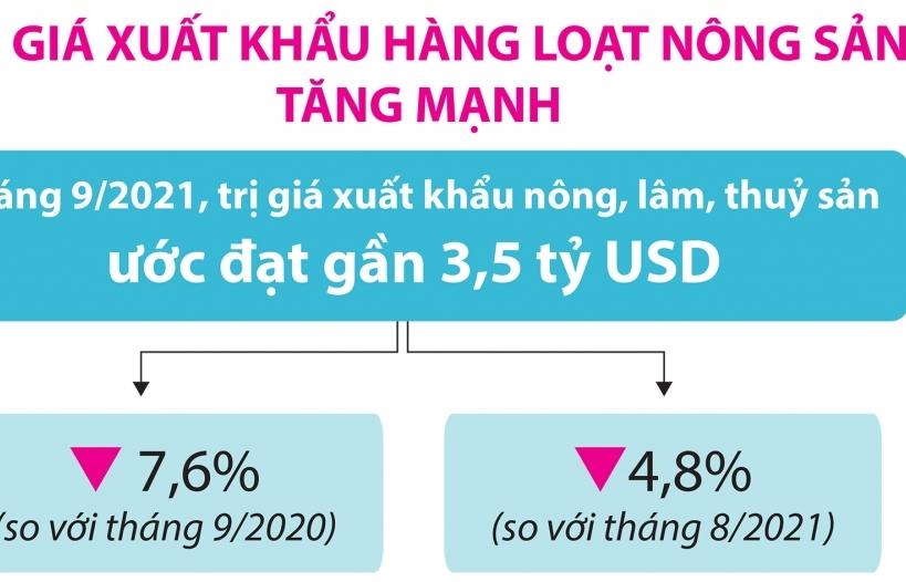 Infographics: Trị giá xuất khẩu hàng loạt nông sản tăng mạnh