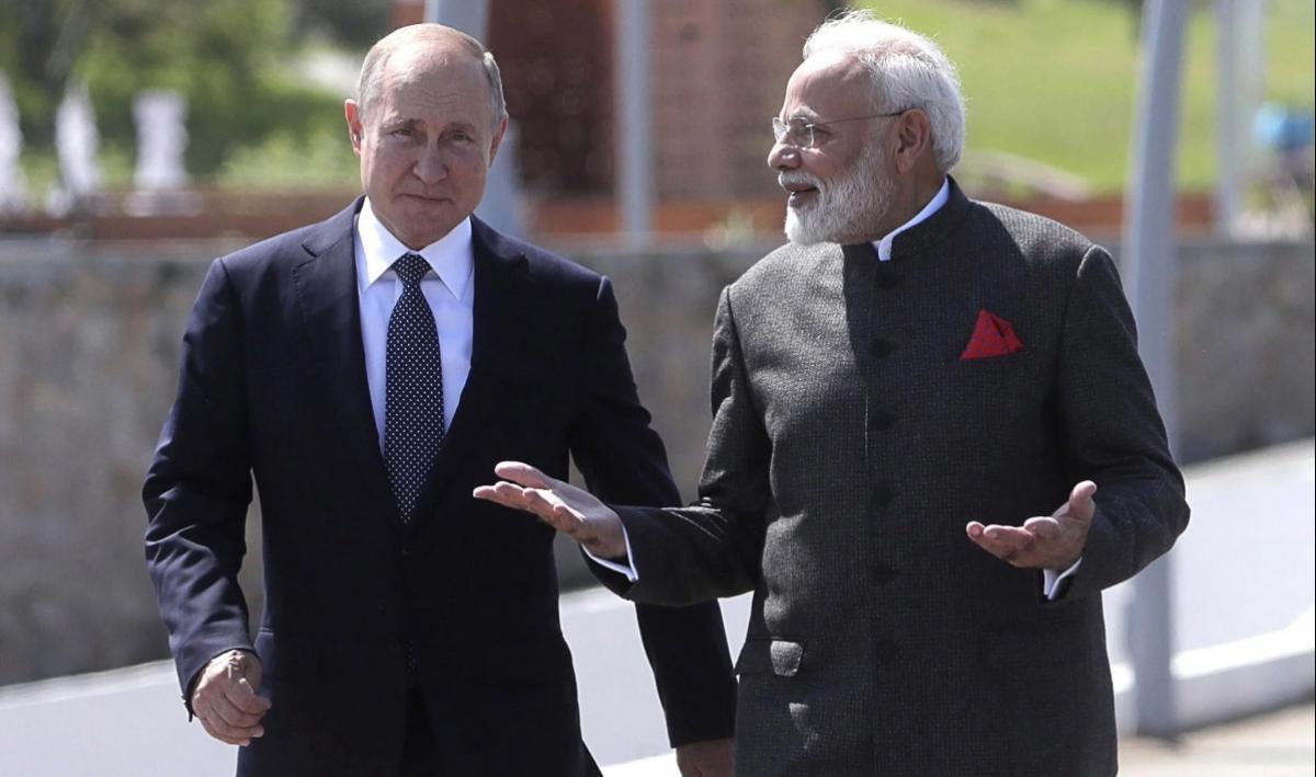 Tổng thống Nga Vladimir Putin và Thủ tướng Ấn Độ Narendra Modi. Ảnh EPA.
