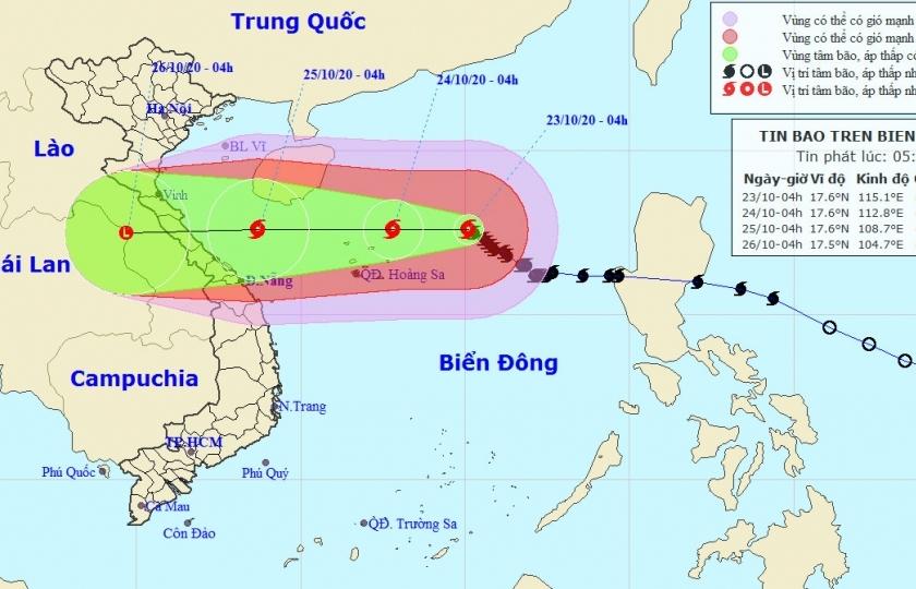 Bão số 8 trên Biển Đông hướng vào Hà Tĩnh, Quảng Trị